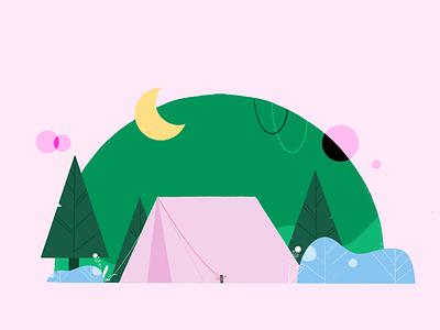 Camping 🌲 texture graphic brush plants drawing design illustration design cartoon campinas leaves procreate illustrator illustration glamping camping