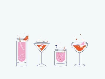 Cocktail Drinks illustrator lemonade limes gin tonic margarita grapic bar cocktail bar cocktails drinks icon set icon logo vector illustration design