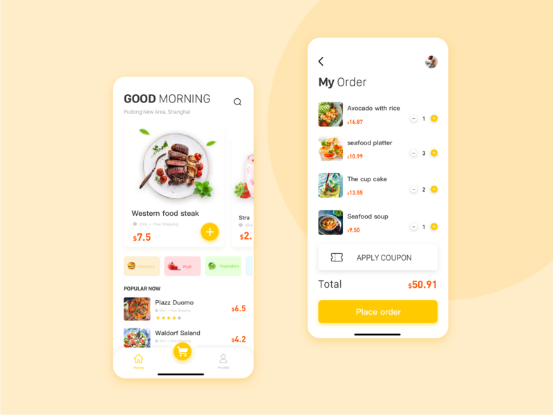 food drive app design ui