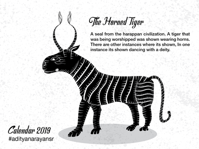The Horned Tiger wacom intuos texture vector poster monochrome monochromatic merch design merchandising merchandise illustrator cc illustration harappa grunge graphic design design civilization calendar black artist adobe