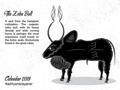 The Zebu Bull animal texture monochrome monochromatic merch design merchandising merchandise harappa civilization calendar black graphic design artist poster design illustration wacom intuos illustrator cc vector adobe