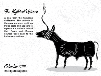 The Mythical Unicorn texture photoshop monochrome monochromatic merch design merchandising merchandise harappa civilization calendar black graphic design artist poster design illustration wacom intuos illustrator cc vector adobe