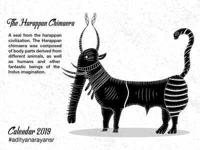 The Harappan Chimaera texture photoshop monochrome monochromatic merch design merchandising merchandise harappa civilization calendar black graphic design artist poster design illustration wacom intuos illustrator cc vector adobe
