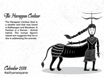 The Harappan Centaur texture photoshop monochrome monochromatic merch design merchandising merchandise harappa civilization calendar black graphic design artist poster design illustration wacom intuos illustrator cc vector adobe