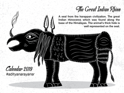 The Great Indian Rhino animal photoshop monochrome merchandising grunge texture merchandise harappa civilization calendar black graphic design artist poster design illustration wacom intuos illustrator cc vector adobe