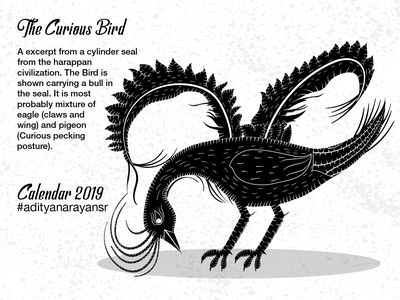The Curious Bird merchandise harappa civilization animal grunge merch design monochrome texture monochromatic calendar black graphic design artist poster design illustration wacom intuos illustrator cc vector adobe
