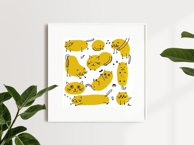 Cat Art Print print art art print cat illustration yellow fun cats handmade design illustration