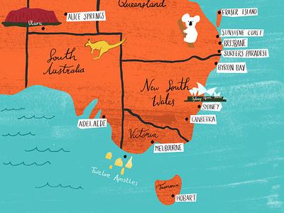 Illustrated Map design detail craft travel digitized handmade texture ink lettering illustration map australia