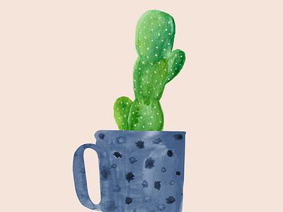 Cactus Mug handmade watercolour cactus illustration