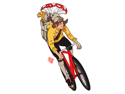 Courier art illustration courier bike messenger