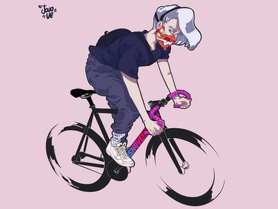 Dosnoventa evangelion fixed gear fixie dosnoventa illustration bike courier