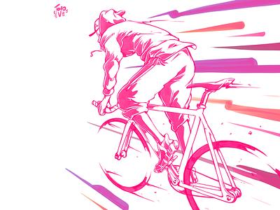 Messlife pink illustration art jovo ve single speed fixie bike messenger