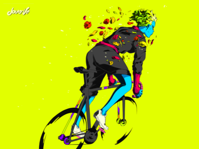 Tulip fixed gear courier art illustration