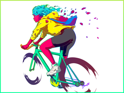 Rose fixed gear courier bike messenger illustration