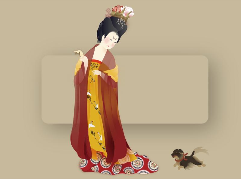 Tang Lady flat graphic design branding figure illustrator illustration identity design minimal character chinese
