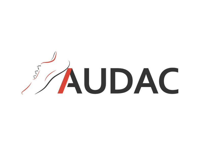 Audac Shoes typography unique athletes sports footwear red black audac creative design shoe logo