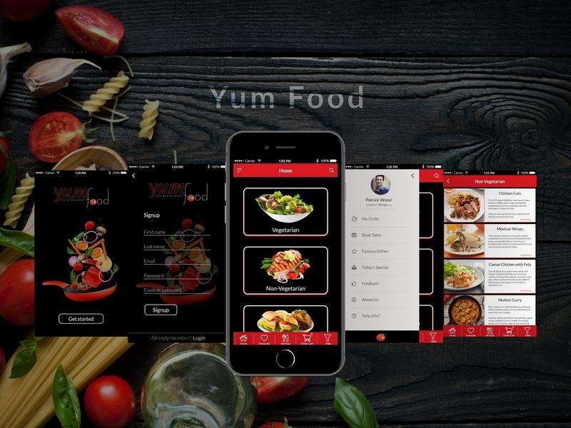Food app iphone ios android ios 11 dark app restaurant food app prototype ui desgin uiux app design