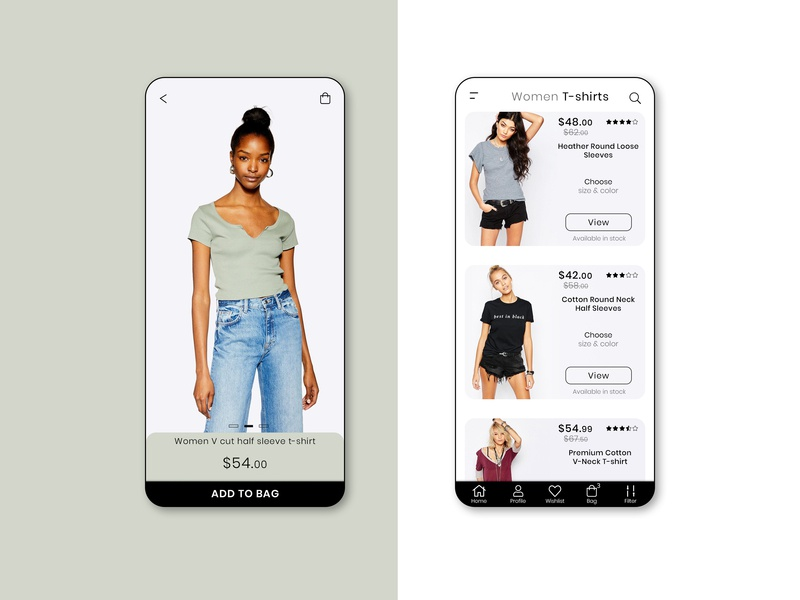 Fashion App UI/UX listing product women t-shirt black theme branding cart shopping cloth fashion app apps application app creative design