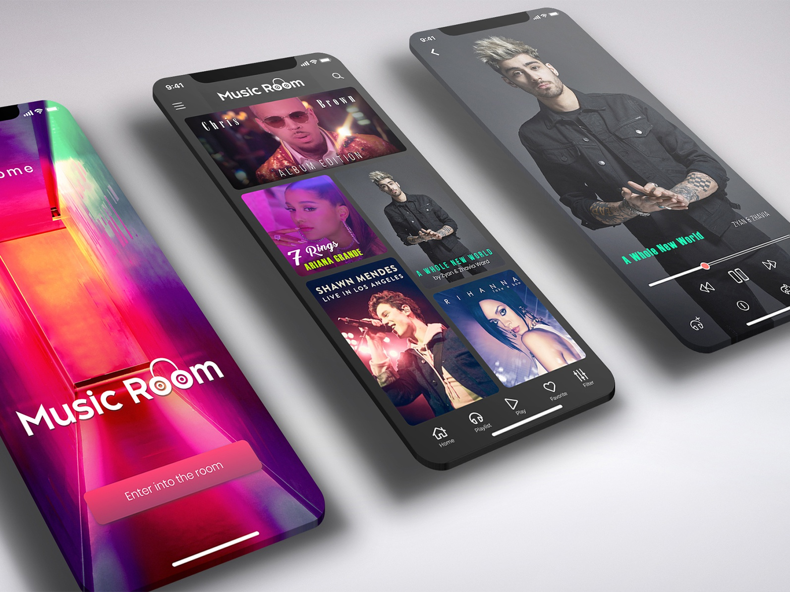 Music Room - An iphone app invisionstudio prototype wireframing mockup phone mobile android ios iphone xs iphone app design player singer songs music application design app creative ux ui
