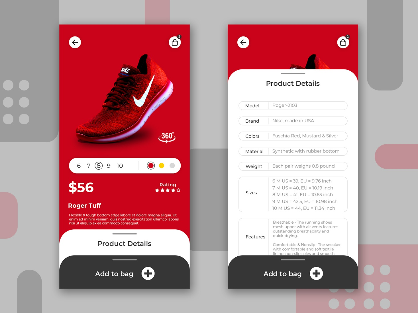 Shoes Store App modern user experience user interface android ios red shopping app add to bag buy now product page app design shoes creative branding ux ui design