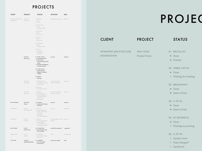 Project List website list to do grid