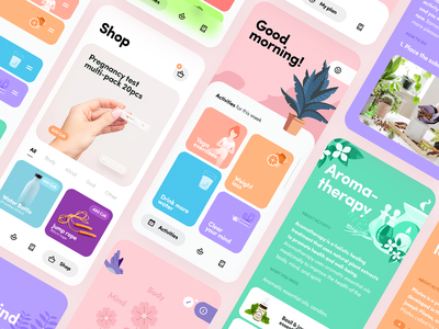 Fertility Wellness iOS App colorful ux ui simple light ios design flat clean app