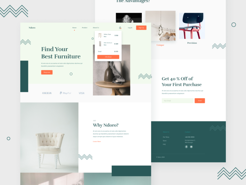 Ndoro - Landing Page figma simple minimalist clean furniture design typography furniture ux layout landingpage web design ui