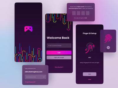 Momo - Gaming Chat App signup register login colorful dark broadcasting game vector ux layout app digital design ui