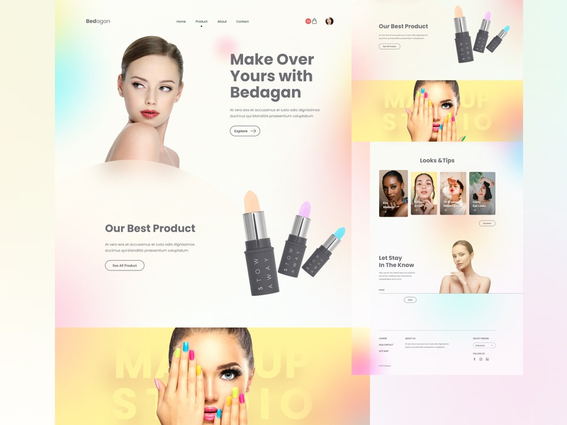 Bedagan - Landing Page lifestyle women fashion beauty cosmetic makeup landing page digital ux layout design ui