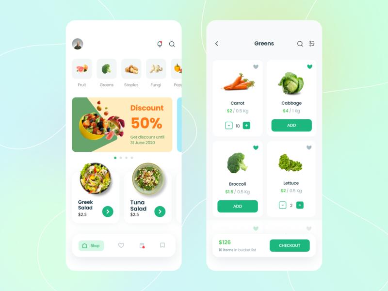 Vogotublis App simple fruit vegetable minimal icon minimalist vector application ux layout app design ui