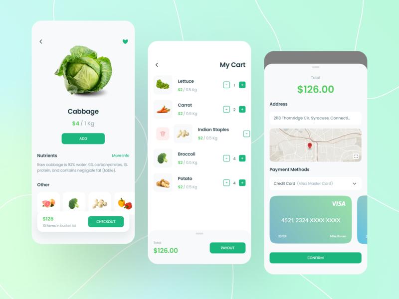 Vogotublis App market details cart green fruits vegetable flat minimal icon branding minimalist ux layout app design ui