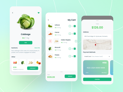 Vogotublis App market details cart green fruits vegetable flat minimal icon branding minimalist ux layout app design ui