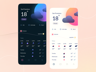 Weather Conceptual App Design dark icon weather minimalist typography ux layout digital app design ui