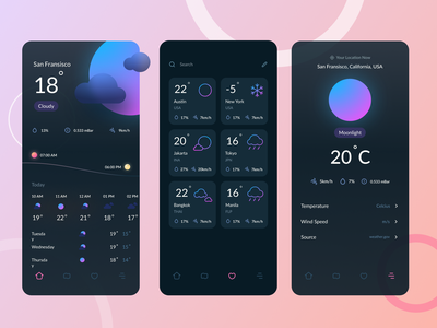 Weather Conceptual App Design night day temperature weather forecast icon 3d weather dark minimalist app design ui