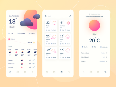 Weather Conceptual App Design temperature day night moon sun forecast weather icon application minimalist layout app design ui