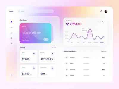WallQ - Wallet Dashboard Exploration visa mastercard wallet chart money digital dashboard colorful minimalist ux layout design ui