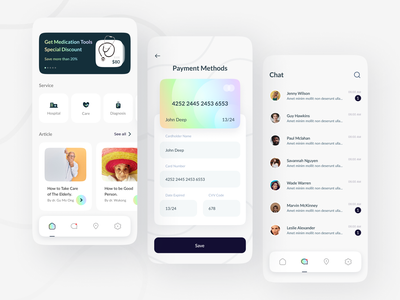 Care Giver App patient doctor clinic tools pharmacy company client covid 19 hospital giver care health medical minimalist ux digital layout app design ui