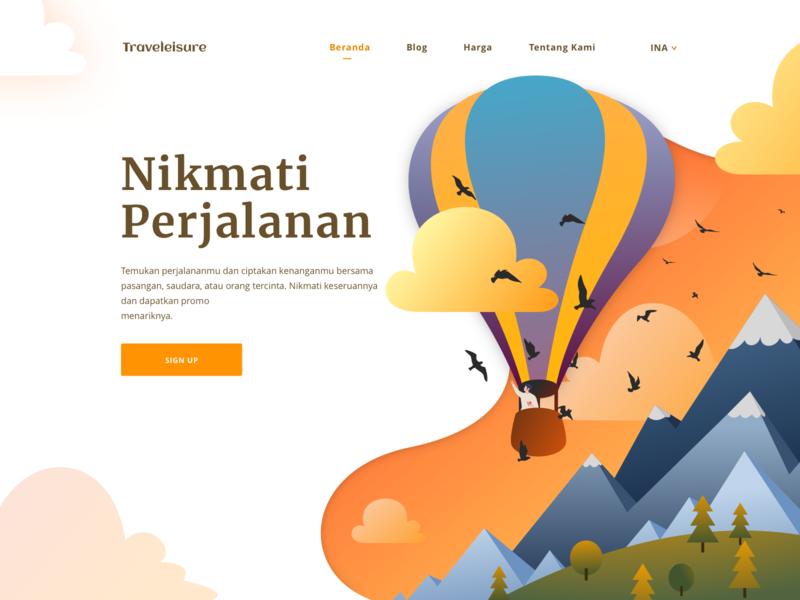 Traveleisure Hero vector website agency tourism hot air ballon mountain design page landing app travel header hero ui web illustration