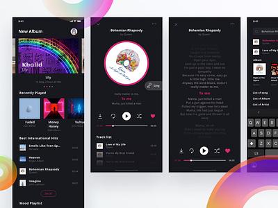 Music App Exploration mp3 digital broadcast streaming podcast sound player music app music application ux mobile design app ui