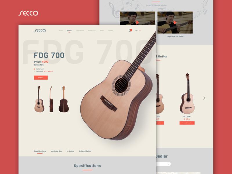 UI Web Secco Guitar Redesign layout illustration music mobile market guitar landing icon ux web header branding agency app vector digital application ui design