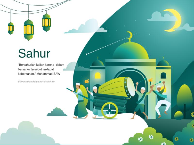 The Meaning of Sahur web landing header application app ramadhan ramadan mubarak ramadan kareem simple design flat illustration flatdesign art artwork digital vector ui illustration design
