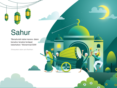 The Meaning of Sahur web landing header application app ramadhan ramadan mubarak ramadan kareem simple design flat illustration flatdesign art artwork digital vector ui illustration design