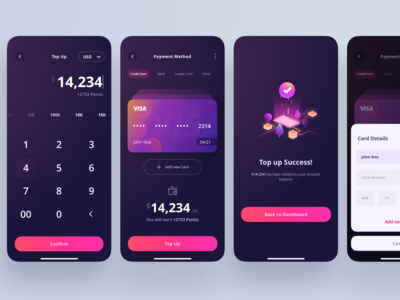 Top Up Section - Crypto Wallet App trading wallet currency dark litecoin etherium bitcoin business design creditcard success illustration top up finance ui app