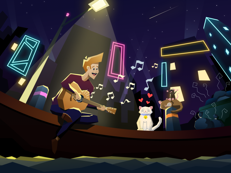 Happiness is Simple weekend happy friends harbour night city mouse cats guitar singing vector music hero digital illustration