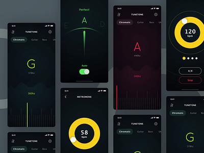 TUNETONE Tuner App ukulele violin viola guitar tuner music dark digital design ui app