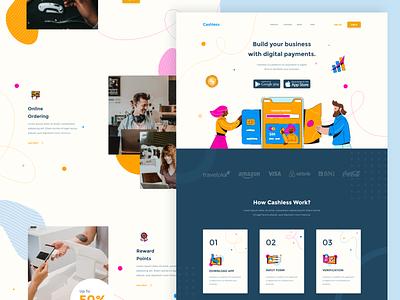 Cashless Landing Page layout homepage ecommerce digital ui payment money finance cashless business bank design web landingpage