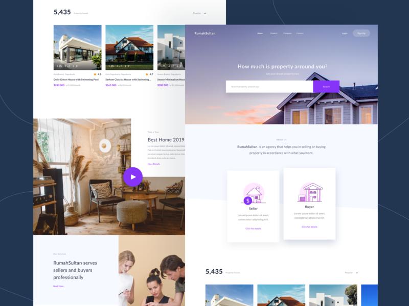 RumahSultan Landing Page purple homepage realestate typography user minimalist property sketch layout landingpage digital ux web design ui