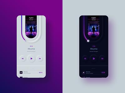 Neumorphic Light and Dark of Music Player App neumorphic typography layout application ux music illustration digital app design ui