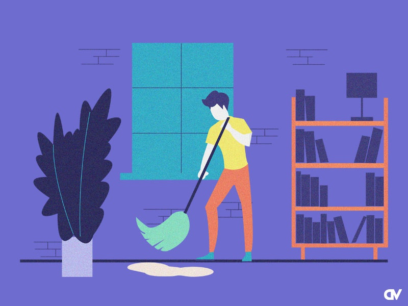 Cleaning the floor icon clean  creative cleaning character art creative agency branding vector graphic  design charachter design illustration