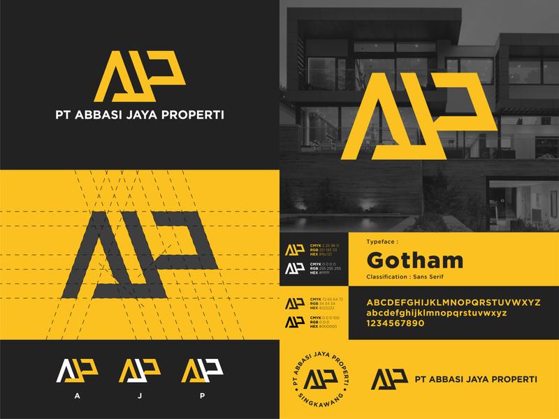 PT Abbasi Jaya Properti - Logo Construction yellow real estate property presentation logo design logo corporate identity clean logo branding brand identity